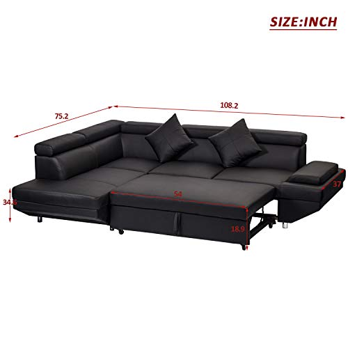 FDW Sofa Sectional Futon Sofa Bed Living Room Sofas Couches and Sofas Corner Sofa Set Sleeper Sofa Faux Leather Queen 2 Piece Modern Contemporary, Black
