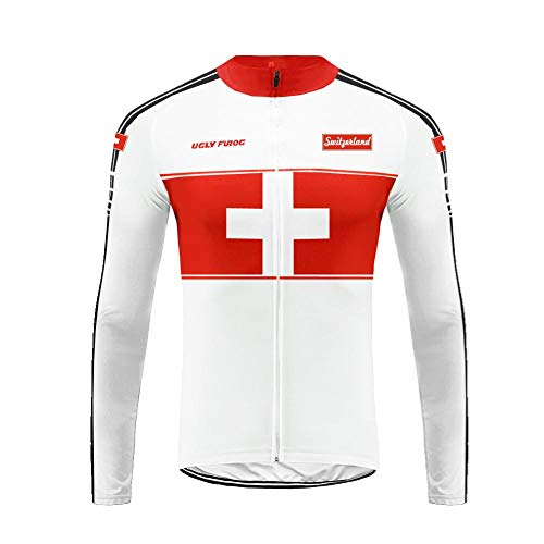 Uglyfrog Mens Cycling Jersey National Flag Pattern Design Windproof Breathable Lightweight High Visibility Warm Thermal Long Sleeve Jacket MTB Mountain Bike Jacket