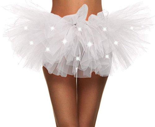 Simplicity Womens LED Light Tutu Skirt Dance Rave Tutu Skirt Dress,White -