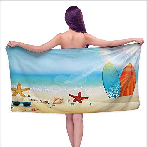 Outdoor Seashell Wall Mount - Onefzc Baby Towel Seashells Holiday Theme Sunglasses Beach Summer Surfboard Daytime Sunny Starfish Seashells Hotel & Spa Bath Towel W40 x L20 Multicolor