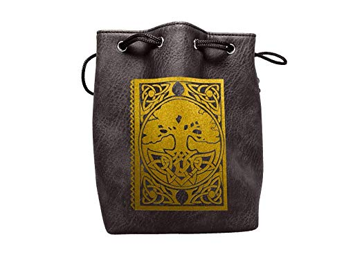 Black Leather Lite Large Dice Bag Spell Book Design - Black Faux Leather Exterior Lined Interior - Stands up on its Own Holds 400 16mm Polyhedral Dice   B07GD8LGRG