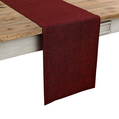 Solino Home 100% Pure Linen Table Runner - 14 x 108 Inch Athena, Handcrafted from European Flax, Natural Fabric Runner - Red Garnet