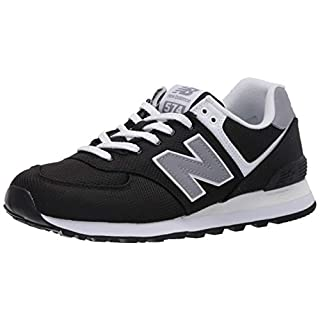 New Balance Men's 574 V2 Sneaker, Black/Chromatic Yellow, 5 W US