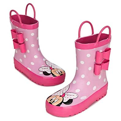 Disney Store Minnie Mouse Pink Rain Boots Shoes for Girls Toddlers Bow Ears (6 Toddler 6T)