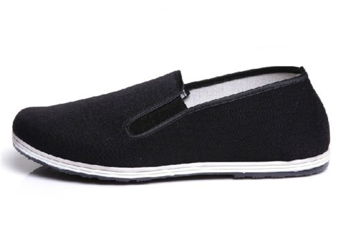 UNOW Chinese Traditional Cloth Kung Fu Shoes,Classic Soles,Black,44 | (US:Men 10 | Women 11.5)