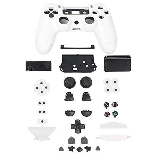 XFUNY Plastic Controller Housing Case Shell Cover for PS4 Controller [Plastic Cover + Rocker Cap + Key Cap] Replacement Part Skin Cover for Sony PlayStation 4 Grip Handle-White
