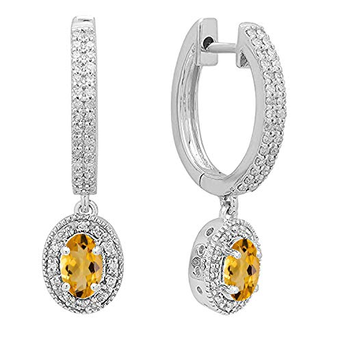 Dazzlingrock Collection 10K 6X4 MM Each Oval Citrine & Round Diamond Ladies Halo Dangling Drop Earrings, White Gold