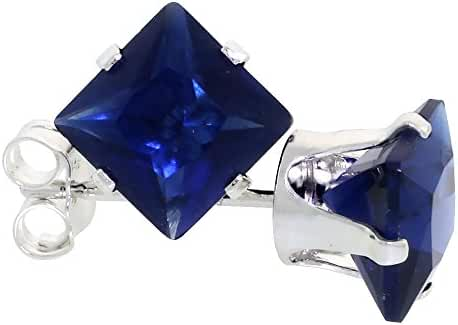 Sterling Silver Square Cubic Ziconia Sapphire Earrings Studs 6 mm Princess cut navy Color 2.5 carats/pair