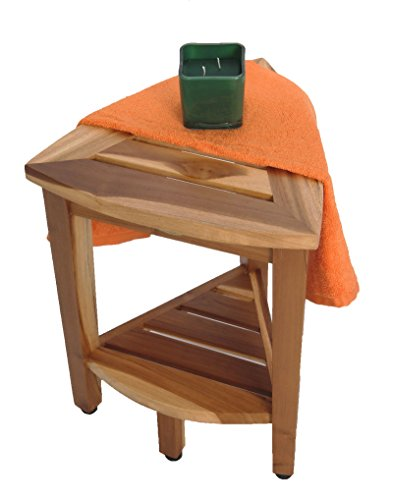 New- 18'' EcoDecors EarthyTeak™-Patent Pending- FULLY ASSEMBLED Compact Teak Corner Shower Bench With Shelf- Shower Sitting, Storage, Shaving Foot Rest by EcoDecors (Image #3)
