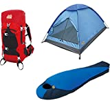 High Peak USA Alpinizmo Extreme Pak 0F Sleeping Bag 3 Men Tent & 40 Liter Hiking Pack, Red/Blue, One Size