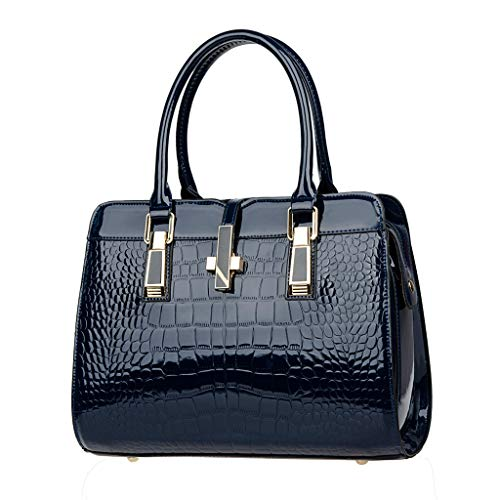 Women's Fashion Wild Pattern Pure Color Fashion Leisure Large Capacity Handbag Blue]()