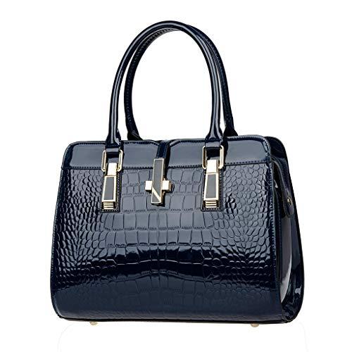 Women's Fashion Wild Pattern Pure Color Fashion Leisure Large Capacity Handbag Blue