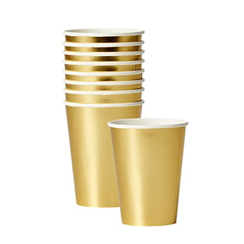 GOLD PAPER Party CUPS - Set of 8 - for Party / Picnic / Christmas / Anniversary / Birthday / Hen Prosecco Party Rice