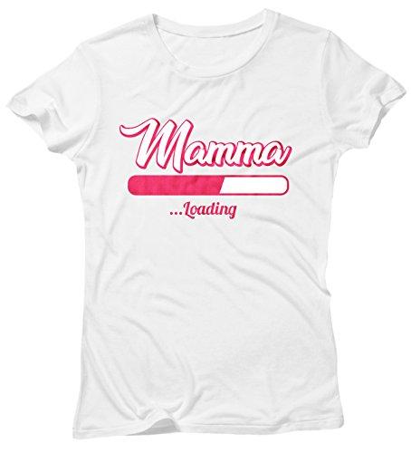Camiseta Mujer Mamma Loading - Camiseta divertida Madre 100% algodòn LaMAGLIERIA Bianco
