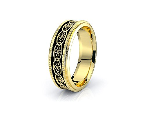 10K White Yellow Gold Claddagh Celtic Knot Wedding Band Rings
