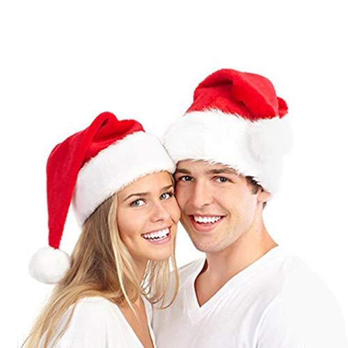 3 Pcs Christmas Santa Hats - Luxury Unisex-Adult's Velvet Xmas Santa Hats with Plush Trim for Christmas Holidays -