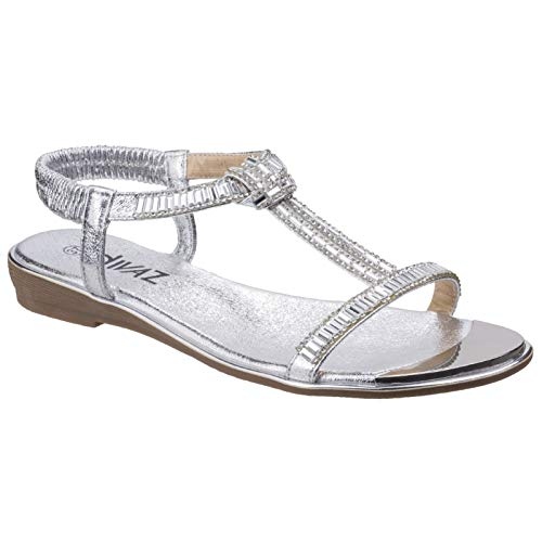 Womens Reflective T Casual Divaz Fashion Bar Kerri Silver Ladies Sandals f7XxHX