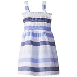 Calvin Klein Little Girls' Printed Slub-Jersey Smocked Dress