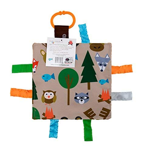 "Baby Sensory Crinkle & Teething Square Lovey Toy with Closed Ribbon Tags for Increased Stimulation: 8""X8""  (Forest Animals)"