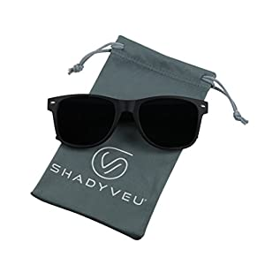 ShadyVEU - Exclusive Super Dark Lens Retro 80's Spring Hinge Wayfarer Sunglasses (Soft/Matte Black, 146)