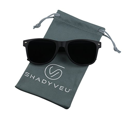 ShadyVEU - Exclusive Super Dark Lens Retro 80's Spring Hinge Wayfarer Sunglasses (Soft / Matte Black, - Dark Mens Sunglasses