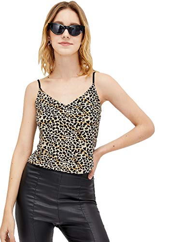 - SweatyRocks Women's Sexy V Neck Spaghetti Strap Crop Top Ribbed Knit Cami Top Leopard M