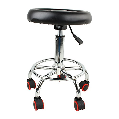 Stool Chair Round Seat Rolling Hydraulic Steel Pneumatic Stool On Wheels, Adjustable Rotary Lifting Salon Spa Barber Bar Chair, Black ()
