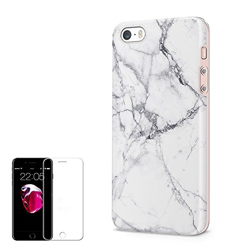 iPhone 5/5S/SE Case Obbii Unique Marble Design Hybrid Slim Hard Shell Inner TPU Protective Durable Cover Case with Clear Screen Protector for iPhone 5/5S/SE