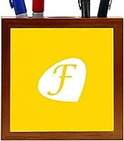 "Rikki Knight Letter ""F"" Initials Freesia Yellow Color Petal Leaves Design 5-Inch Tile Wooden Tile Pen Holder (RK-PH43457)"