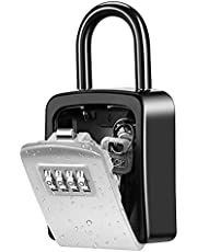 Key Lock Box, Wall Mounted Key Safe Box, Weatherproof 4 Digit Combination Key Storage Lock Box, 5 Keys Capacity with Removable Shackle for Indoor Outdoor, Small Size 3.66inch(1Pack, Silver )