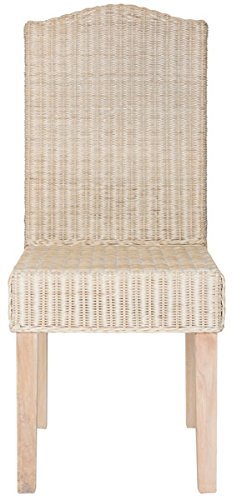 Safavieh Home Collection Odette White Wash Wicker Dining Chair (Set of 2), -