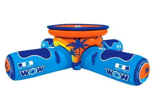 WOW World of Watersports, 12-2000 Aqua Table, Inflatable Floating Picnic Table, 2 to 4 Person (Covered Towable)