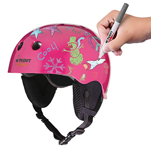 - Wipeout Dry Erase Kids Helmet for Skiing and Snowboarding, Neon Pink, Ages 5+