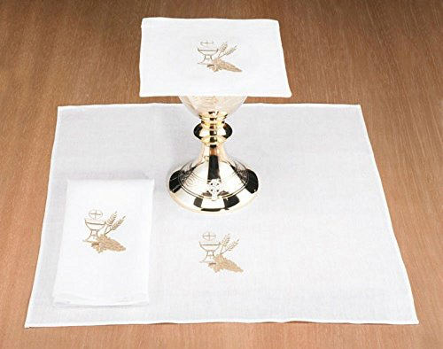 Cotton Blend Altar Appointment Set with Chalice and Wheat by AT001