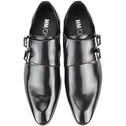 MM/ONE Mens Double Monk Strap Plain Toe Slip On Dress Shoes Dark Brown 42 EU (US Men's 9-9.5 M)