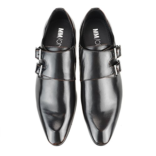 Mm / One Heren Monkstrap Oxford Schoenen Double Cap Teen Memory Foam Binnenzool Kingsize Mpt112-5 Bruin