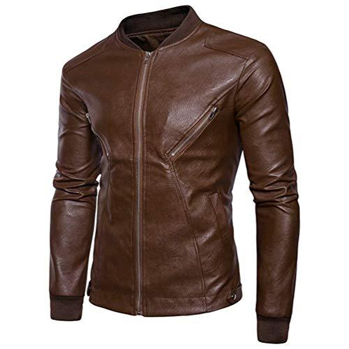 Lunga Attentatore Finto Abbigliamento Pelle Kaki Moto Uomini Giacca Fit Classico Piacere Biker Di Manica Casuale Cappotto Huixin Sottile vXxanv