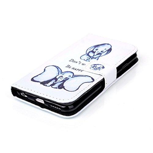 Uming® Retro patrón de colores de impresión de la PU del Caja Caso Case Cover [ para Samsung Galaxy S4 I9500 I9505 ] Colorful Pattern Stand Holder Holster el modelo colorido pistolera del tirón con el 2 Dumbo