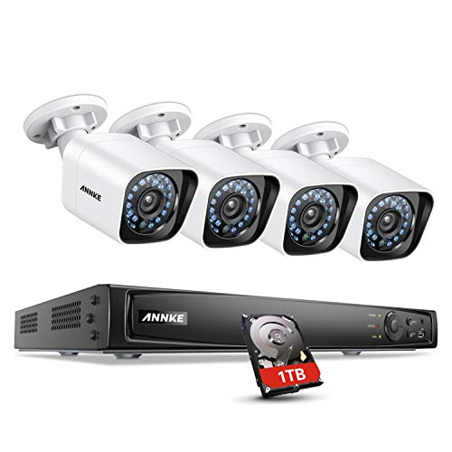 ANNKE 1080P HD POE Security Camera System, 4CH NVR Video Recorder with 1TB Hard Drive and (4) 2MP (1080x1920) Surveillance Bullet IP Cameras, IP66 Weatherproof, 100ft Night Vision, Motion Detection - Micro Camera Weatherproof Bullet