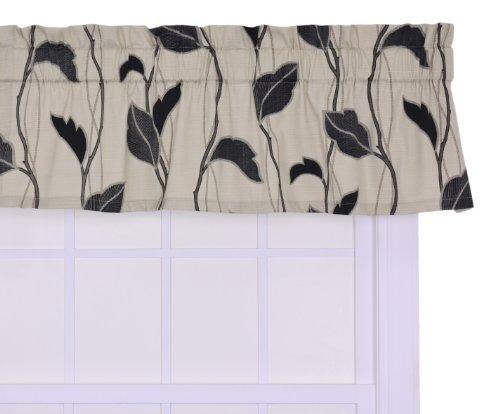 Vine Window (Ellis Curtain Riviera Large Scale Leaf and Vine Tailored Valance Window Curtain, Black)