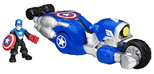 Playskool Heroes Marvel Super Hero Adventures Shield Bike Vehicle with Captain America Action Figure by Playskool