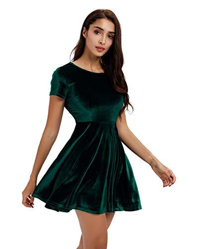 (Moxeay Women Short Sleeve Velvet Pleated A-line Skater Mini)