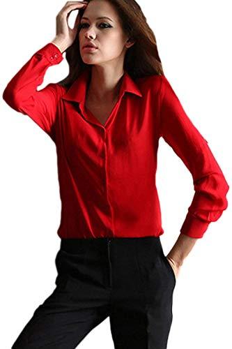 Moderne Blouse Blouse Style des Dame Automne Printemps Battercake Femme Affaires Manche Rouge Haut Casual lgant Uni Femmes Shirts Bouffant Longues Revers Chemisier Manches Chemise RdxqZwa