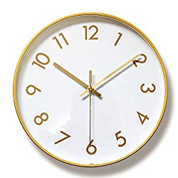WOFEIYL 12-Inch Modern Quartz Metal Wall Clock, Simple and Stylish Digital Decorative Wall Clock, Silent Non-Ticking, Suitable for Living Room/Bedroom/Restaurant, Gold