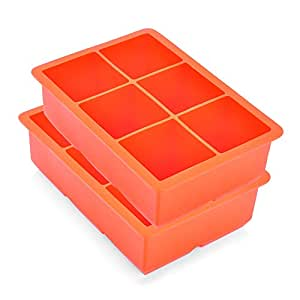 Riverbyland Red Silicone Ice Cube Trays 6 cubes Set of 2