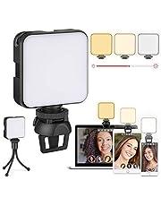 Videoconferentie-verlichtingsset, laptop-licht, zoomverlichting met clip en standaard, webcam-ringlicht voor zoomvergaderingen, afstandsbediening, make-up, fotografie (dimbaar en oplaadbaar)