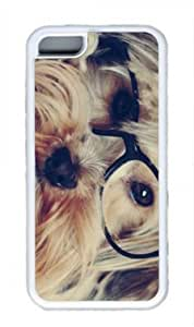 Dog with glasses Fashion Custom Rubber(TPU) white Case for Masterpiece Limited Design iphone 5C by Cases & Mousepads