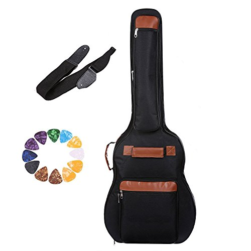 Kaluo Waterproof 600D Oxford Dreadnought Acoustic Guitar Gig Bag with 5-Pocket, Double Guitar Strap and 12 Pick Sampler Black (US Stock)