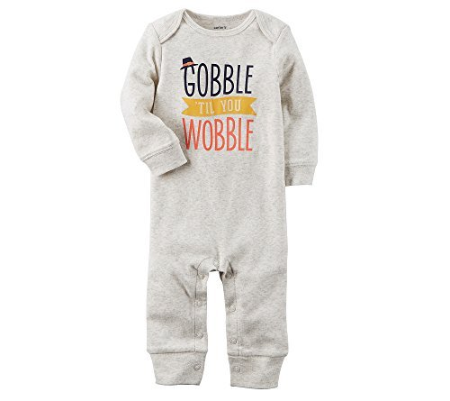 Carter's Baby Gobble 'Til You Wobble Jumpsuit Newborn Gray Newborn