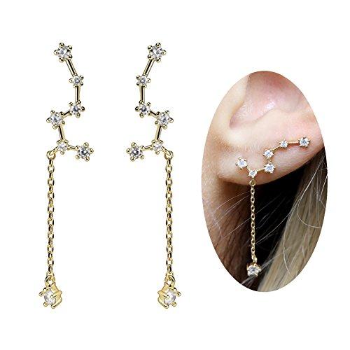 al Star Stud Ear Crawler Little Dipper Dangle Earrings in Gold Silver Rose Gold (Gold) - ECLD ()